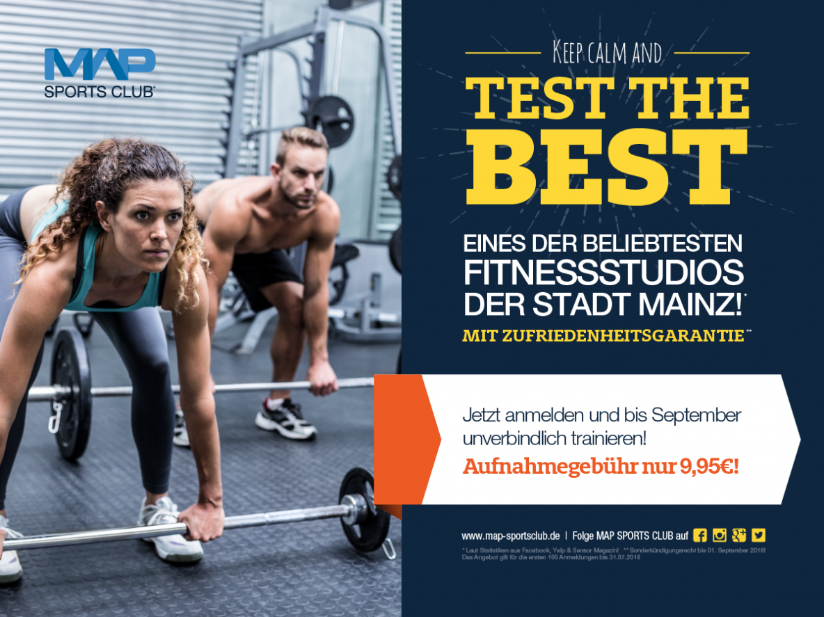 Fitnessstudio Map Sports Club Sommeraktion 2018